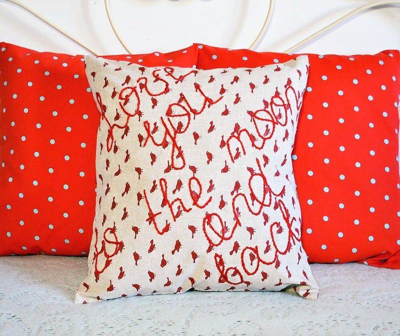 Letter cotton pillow, embroidery pillow, birds print cushion, birds cotton cushion, outdoor beige pillow, cotton pillow 40x40