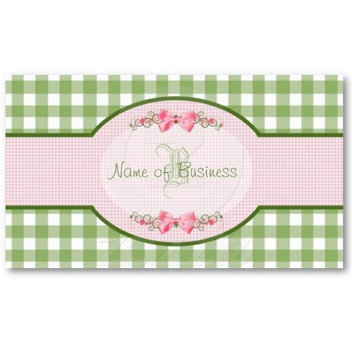Girly green gingham monogram occupation name business cards http girly green gingham monogram occupation name business cards http zazzle reheart Gallery