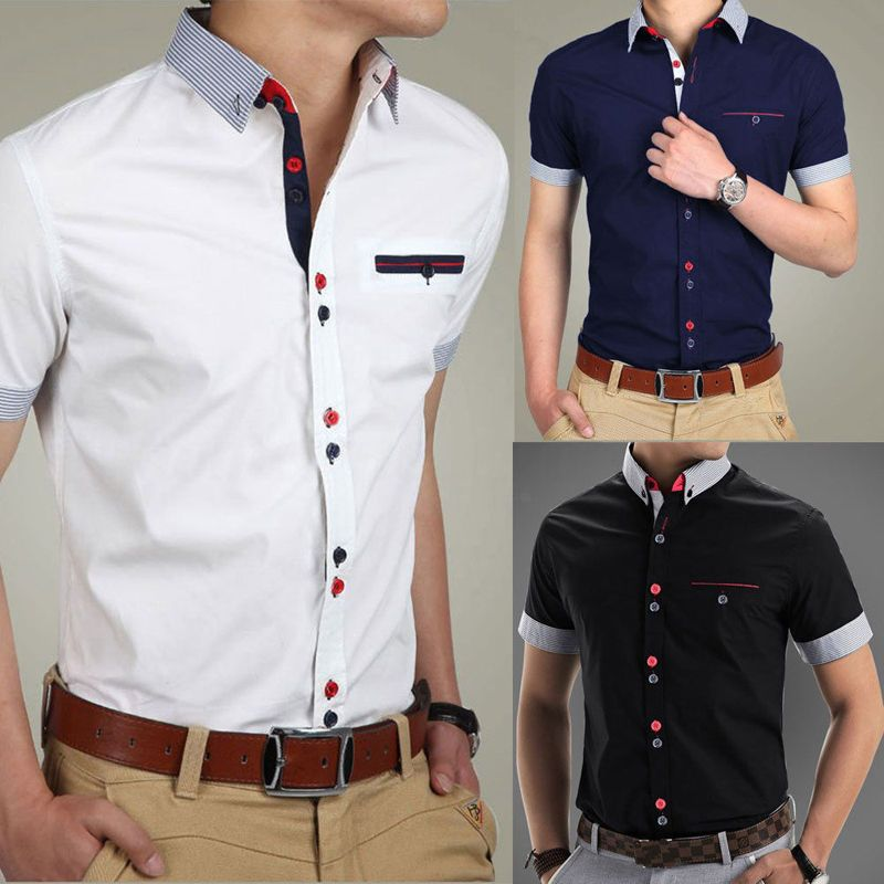 2092640c0 Podom Mens Casual Slim Fit Formal Short Sleeve Business Dress Shirt T  Shirts Top