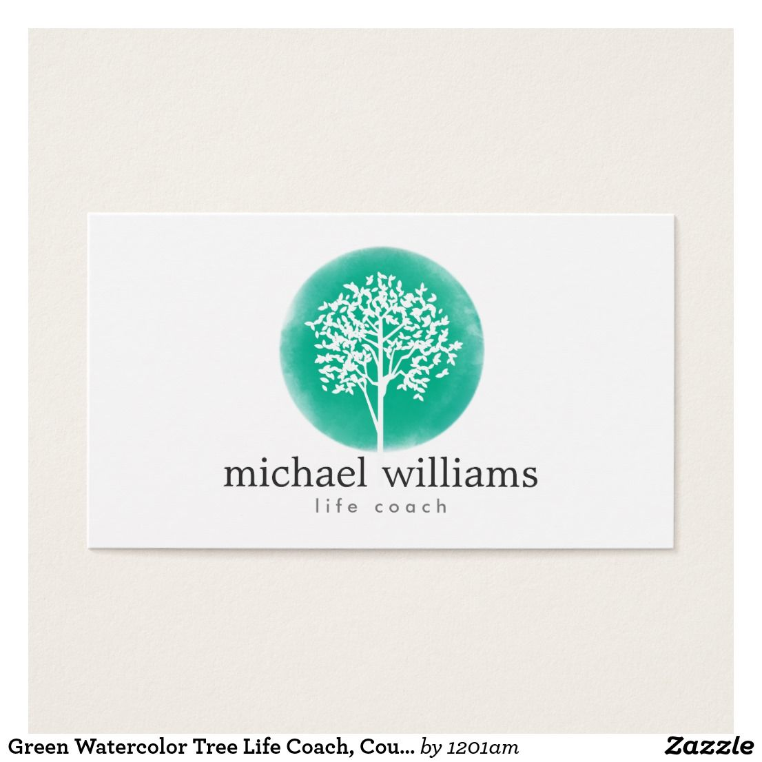 Green Watercolor Tree Life Coach, Counselors Business Card ...