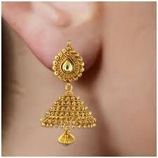 9b9e0a345 Image result for gold jhumka designs with weight | jhumka | Gold ...