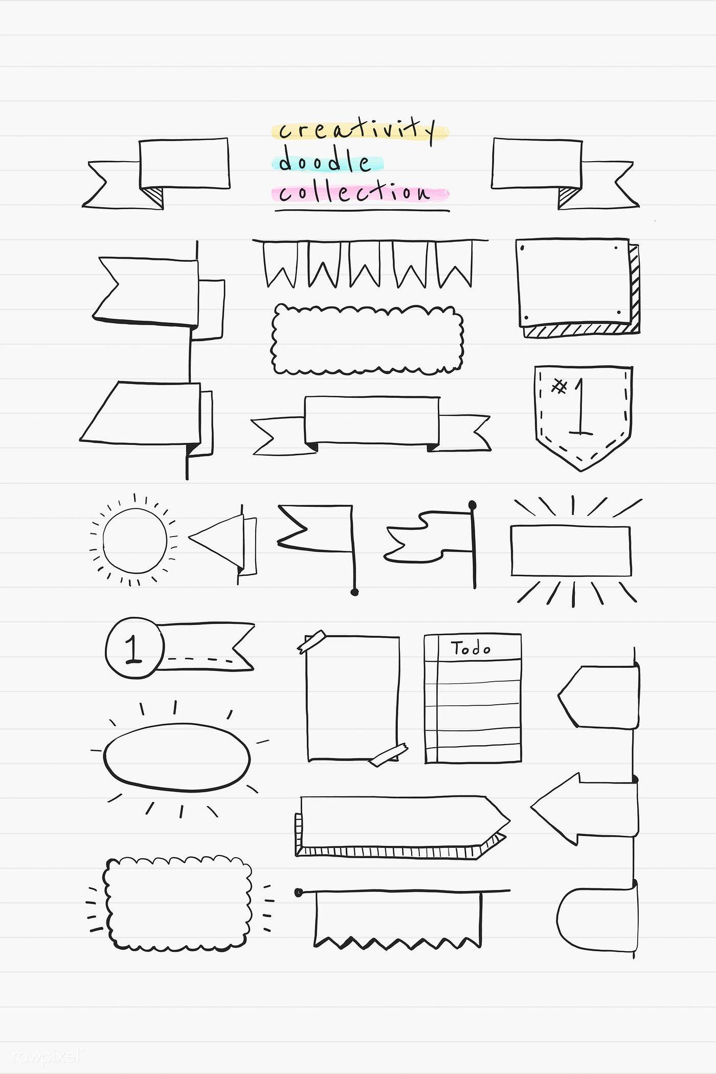 Creative doodle banner design vector set | premium image by rawpixel.com / busbus