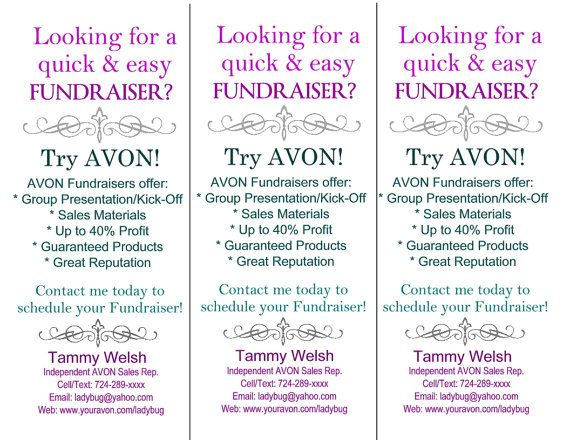 DIY Custom AVON Fundraisers Insert - Colorful Avon Fundraising - flyer outline