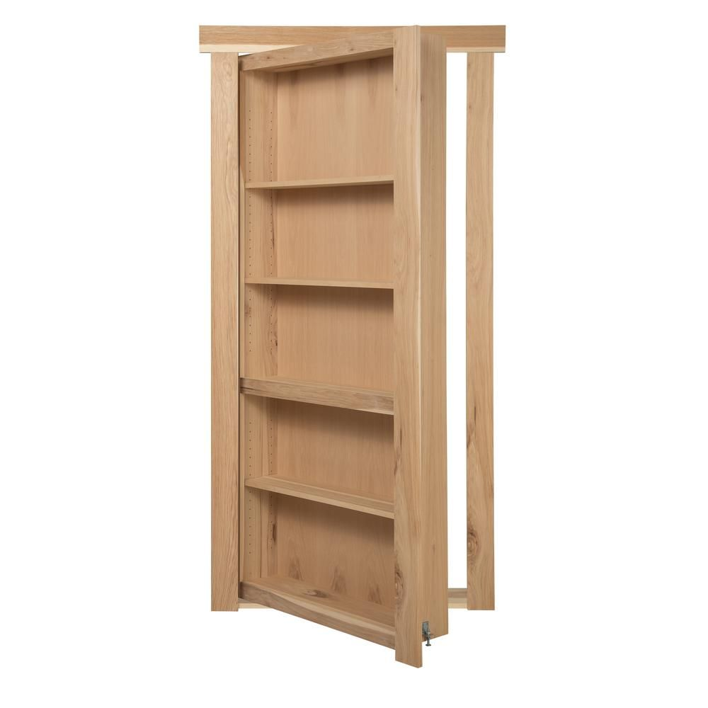 Attirant The Murphy Door 36 In. X 80 In. Unassembled Unfinished Hickory Flush Mount  Bookcase Wood Single Prehung Interior Door