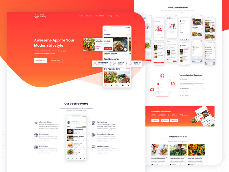 Food Delivery app Landing Page V2 Mobile app designs