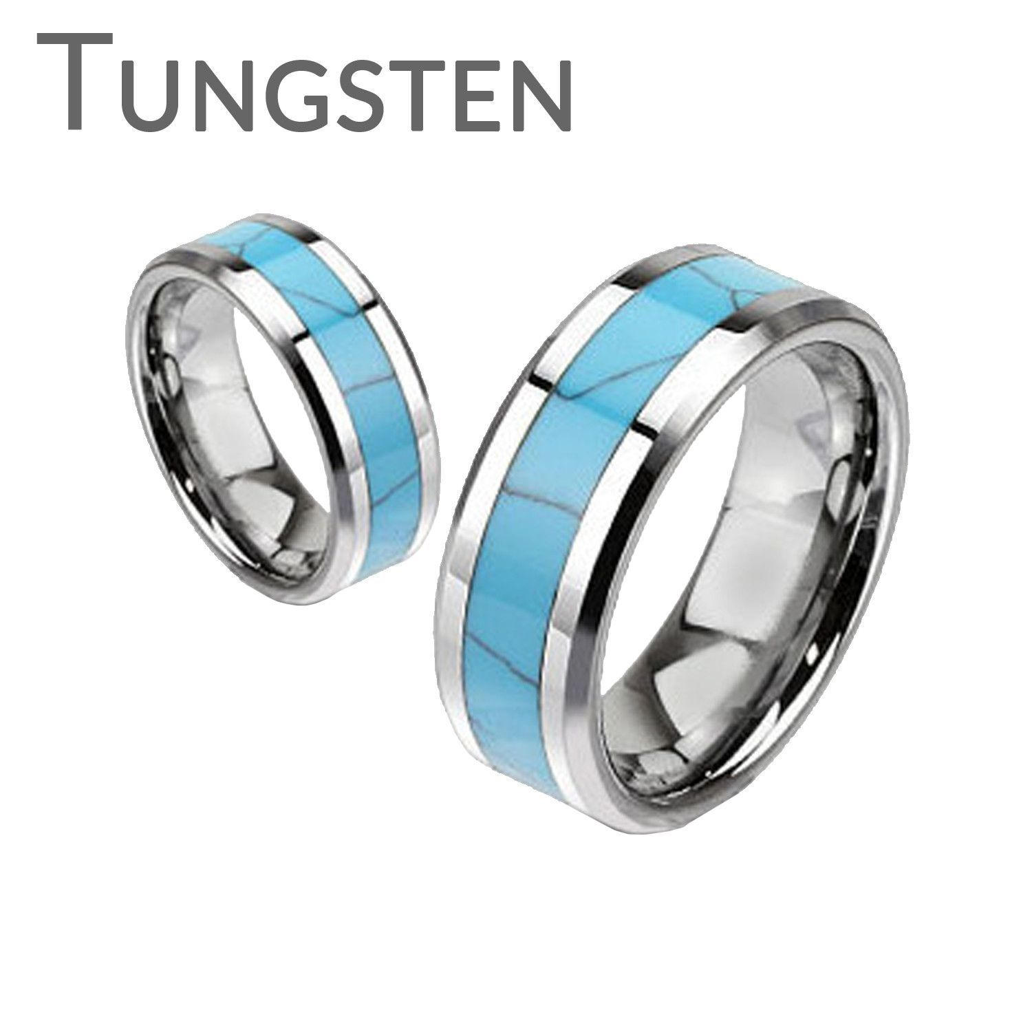 Rio Grande Inlay Turquoise Center Band and Tungsten