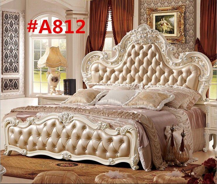 A8121 Camas talladas, Cama de cuero y Camas