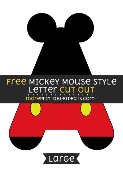 Free Mickey Mouse Style Letter A Cut Out Large Size