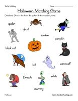 Pin On Halloween Halloween worksheets pic word matching