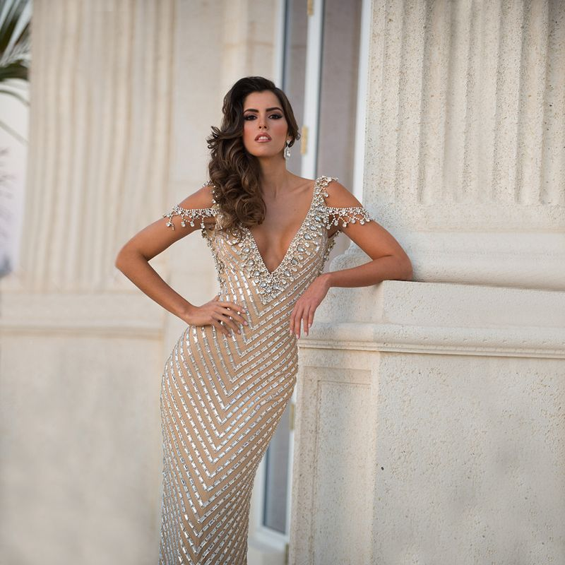Sexy Mermaid Champagne Great Gatsby Evening Dress 2016 Formal High ...