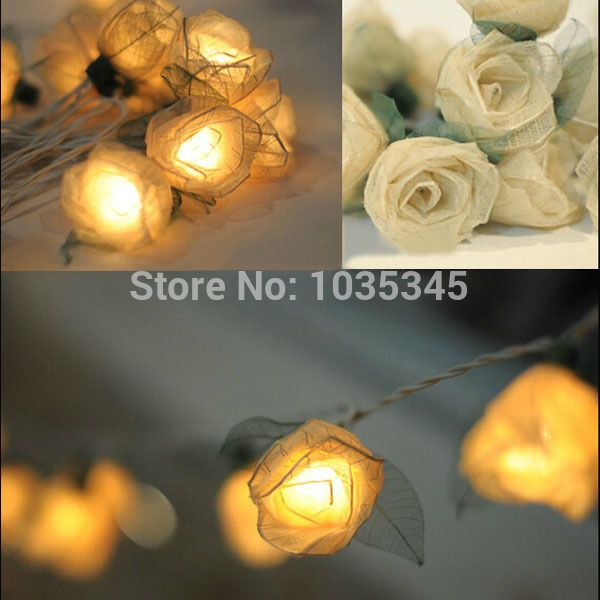 Cheap String Lights Simple 3M 20 White Rose Flower String Christmas Outdoor Party Xmas Festival