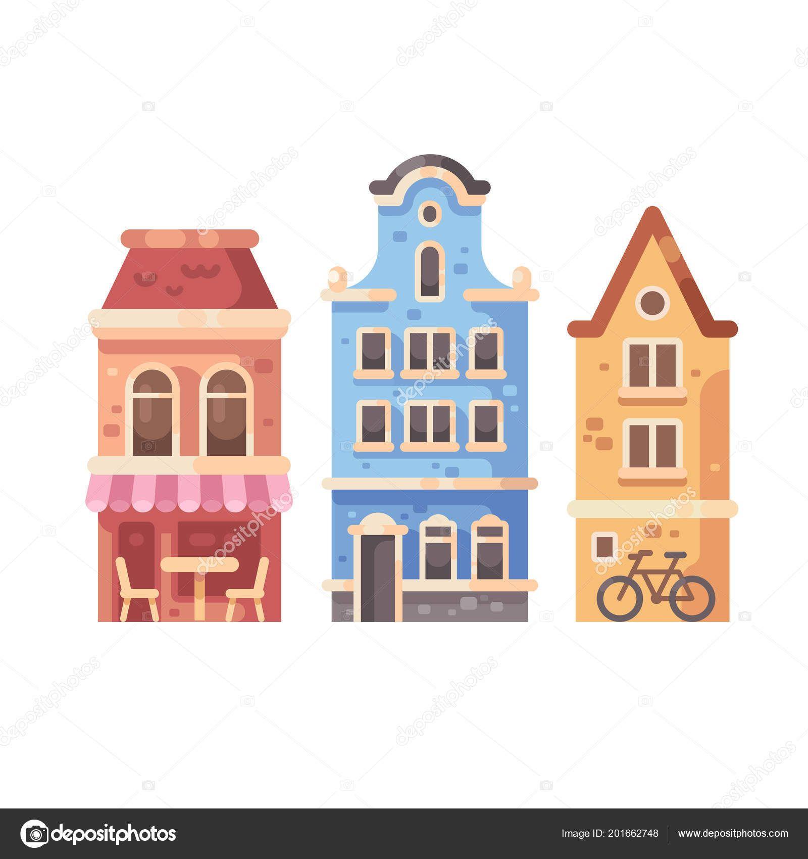 Descargar Conjunto Tres Edificios Antiguos Ciudad Ilustracion