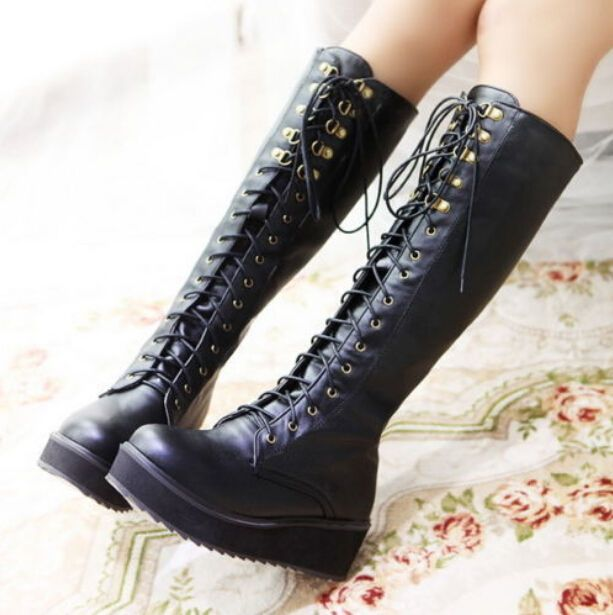 Punk Goth Women Flat Platform Ridding Multi Buckle Lace Up Knee High Boots  Shoes