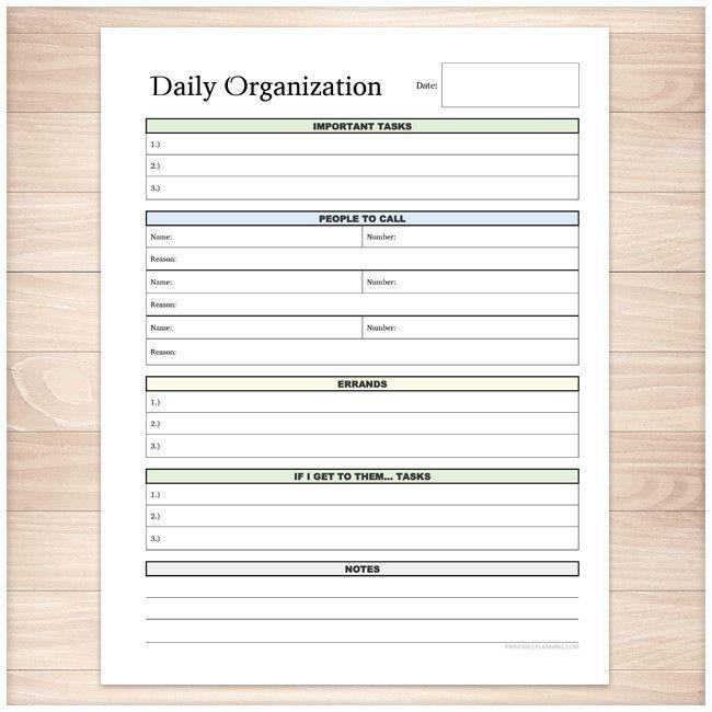 Daily Organization Category Task Sheet - Printable Organizational