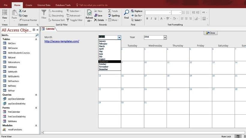 Microsoft Access Calendar Form Template | Access Database