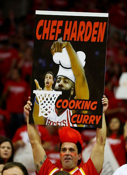 42065e61ebd9 Fans hold up signs in support of James Harden of the Houston Rockets in the…