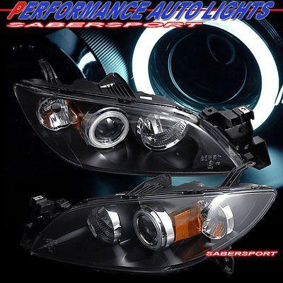 04 08 Mazda 3 Sedan Ccfl Angel Eye Halo Projector Headlights Black Halogen Type Mazda 3 Sedan Sedan Mazda 3
