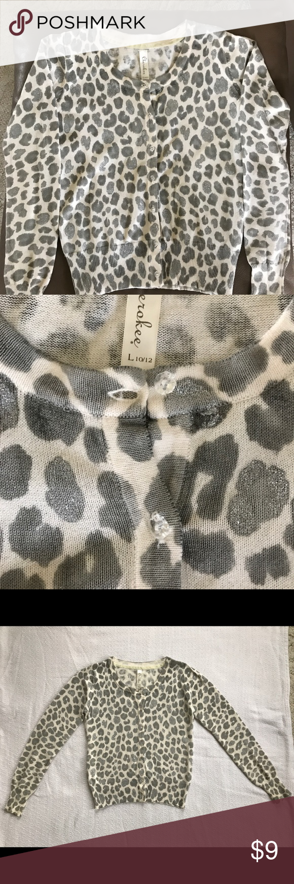 Girls Grey and Silver Leopard Print Cardigan New, never worn Girls ...