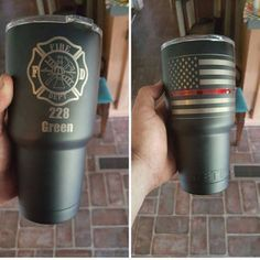 e40e7722fd4 American Flag with Thin red line Thin Blue line YETI