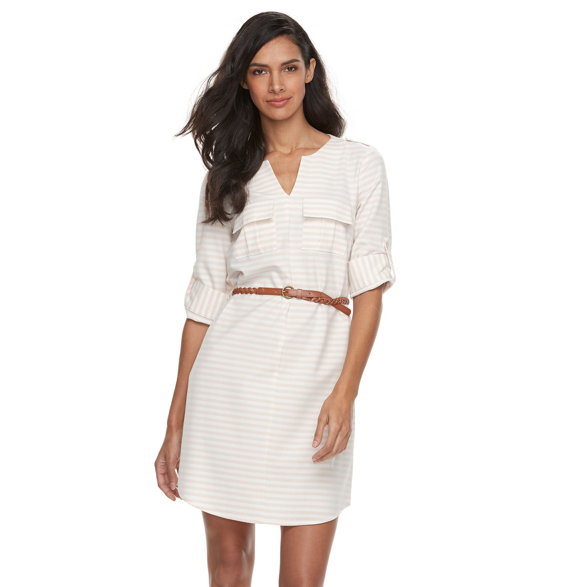 e336fca20ac Women s Sharagano Roll-Tab Belted Shirtdress
