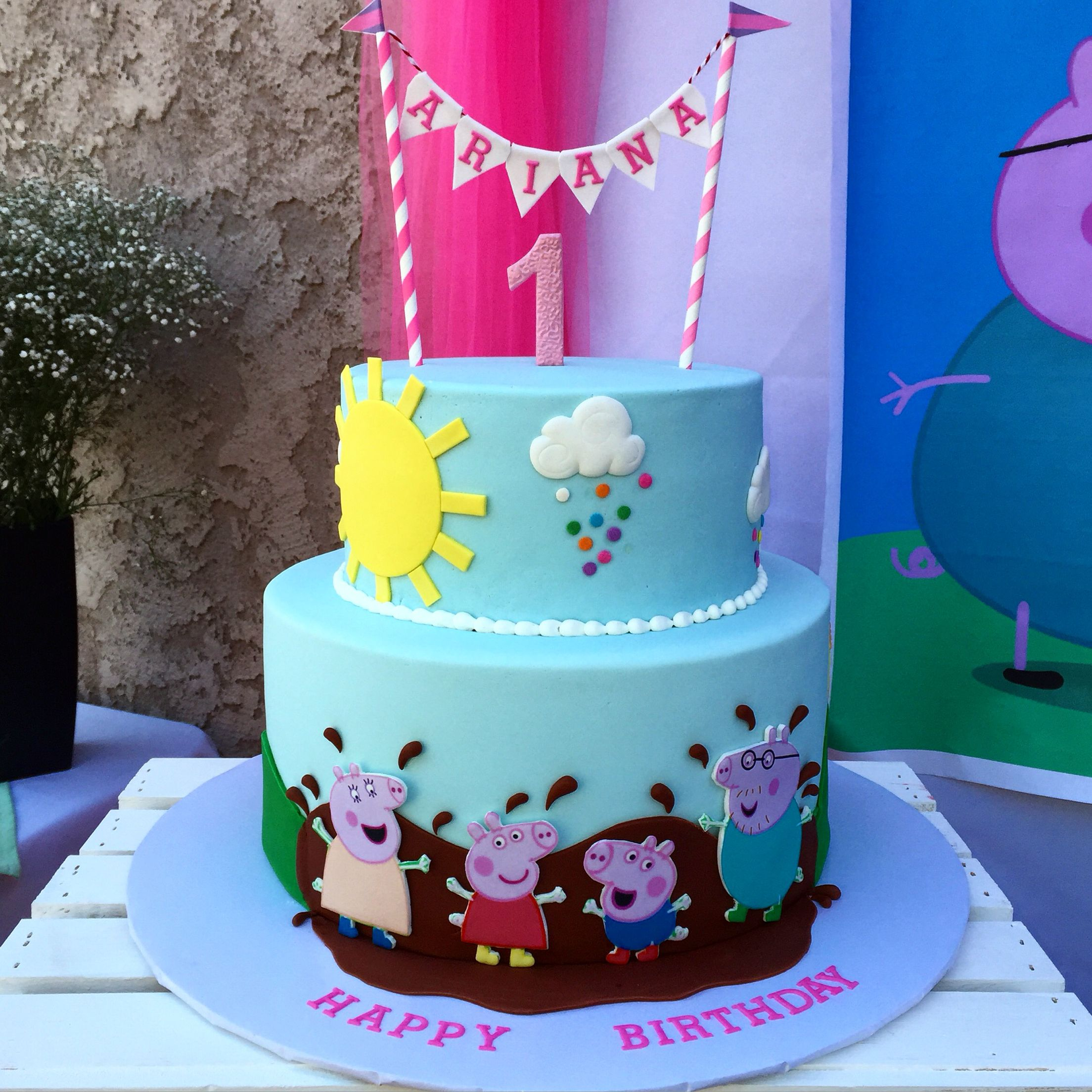 I made this peppa pig muddy puddles 2 tier cake with edible images.  sc 1 st  Pinterest & I made this peppa pig muddy puddles 2 tier cake with edible images ...