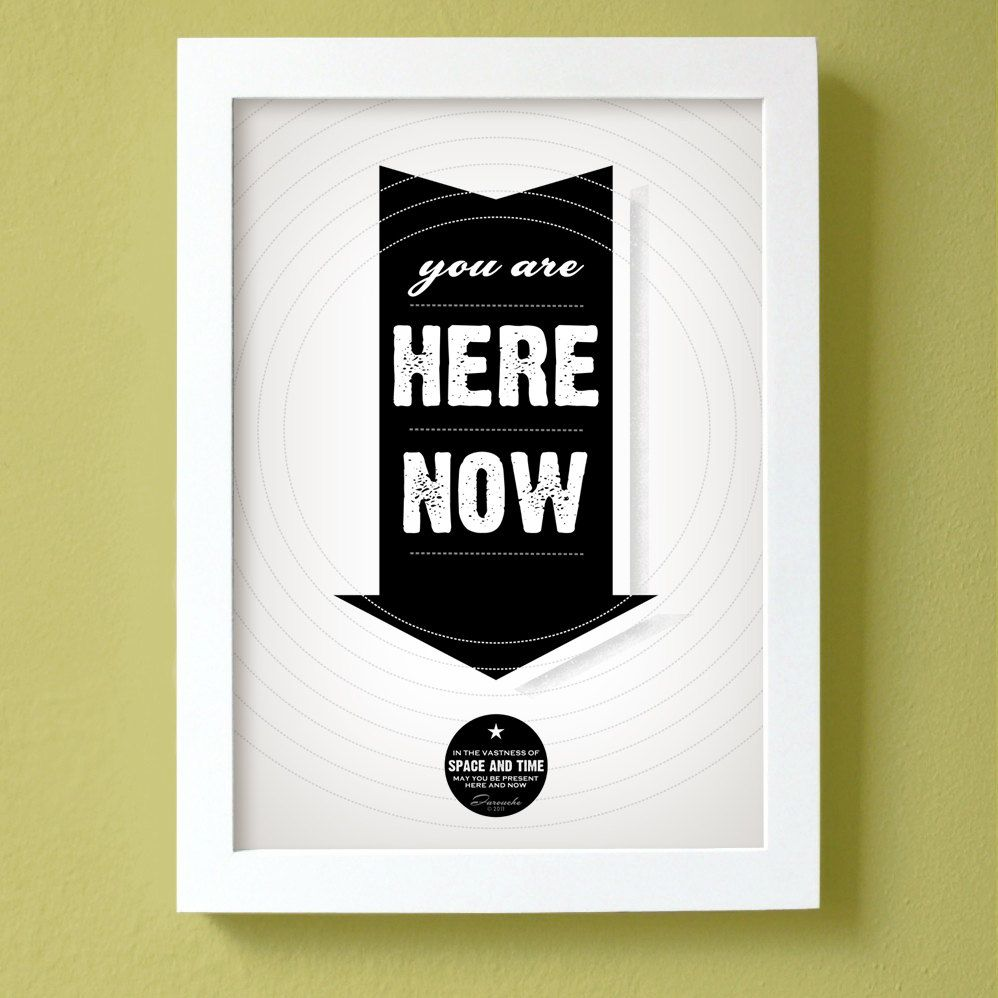 You Are Here Now Print Large Size Black Arrow Poster Poster Prints Print Arrow Poster