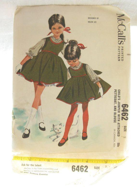 McCalls 6462 1960s Helen Lee Girls Jumper Dress