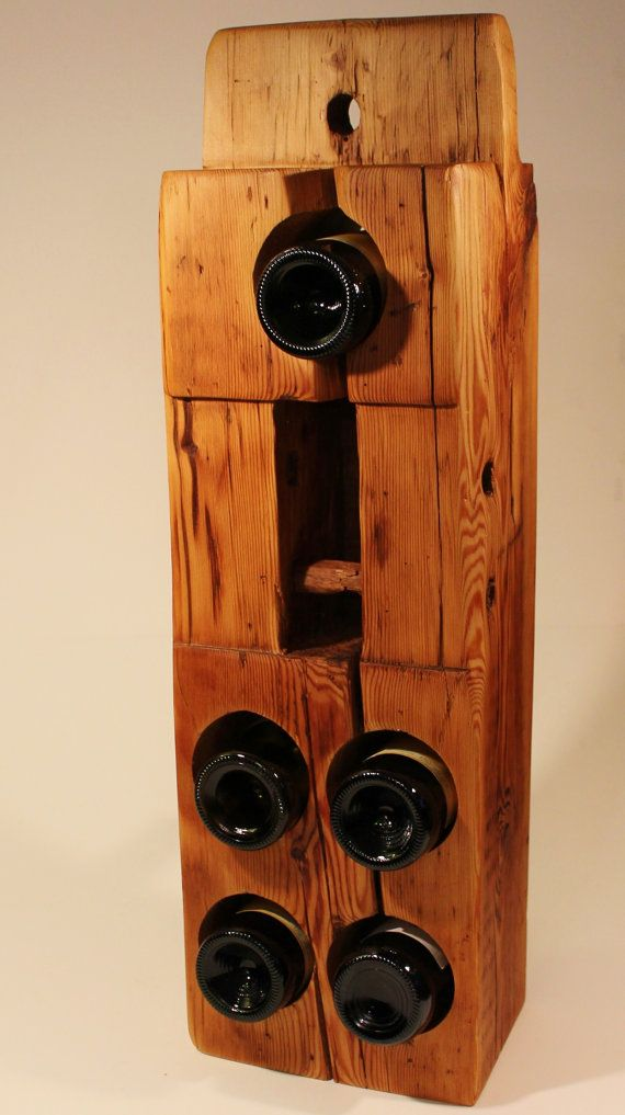 Reclaimed Wood Wine Rack From 200 Year Old Maine Barn Beam