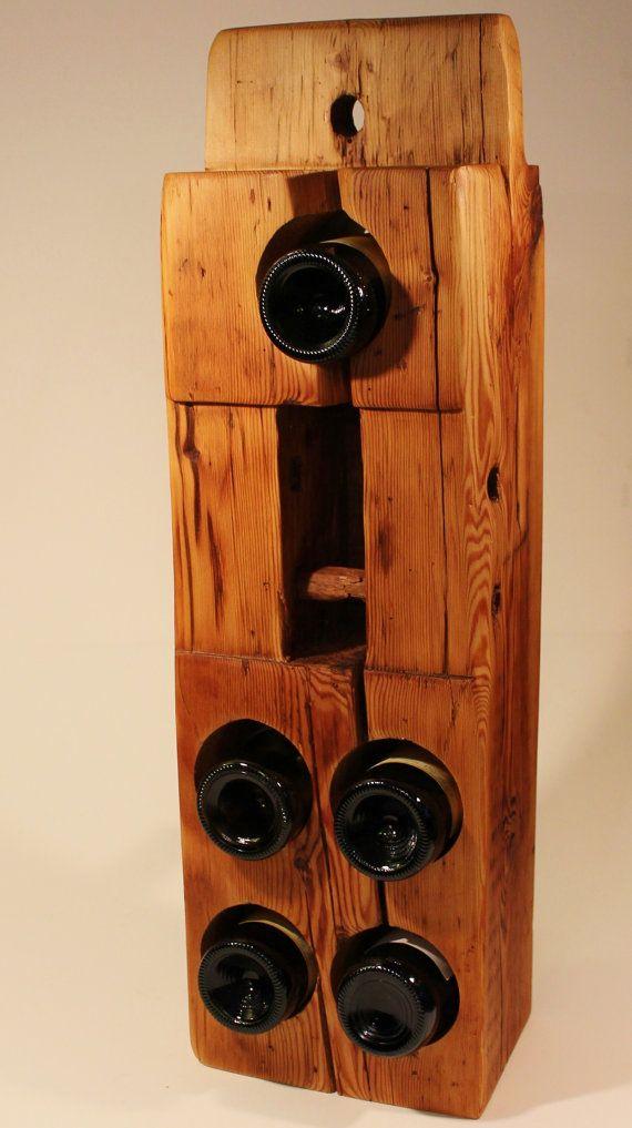 Reclaimed Wood Wine Rack From 200 Year Old Maine Barn Beam Barn