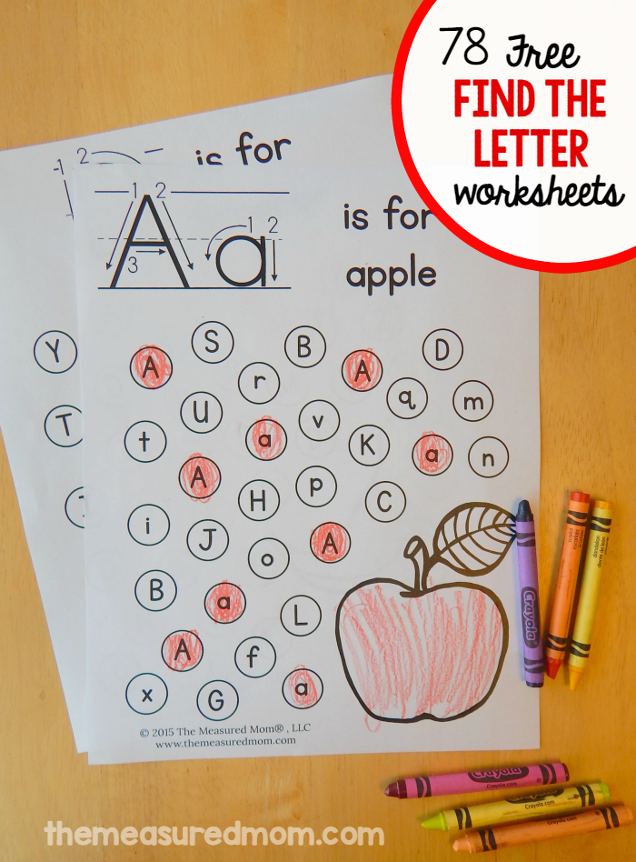 Letter Find Worksheets - The Measured Mom Alphabet Preschool, Alphabet  Activities, Preschool Learning