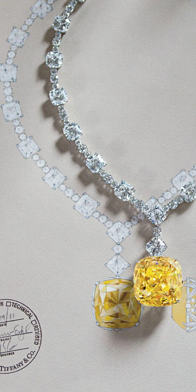 76f2a326e For Tiffany's 175th anniversary in 2012, the priceless Tiffany Diamond was  reset in a magnificent necklace of white diamonds.The famous yellow Tiffany  ...
