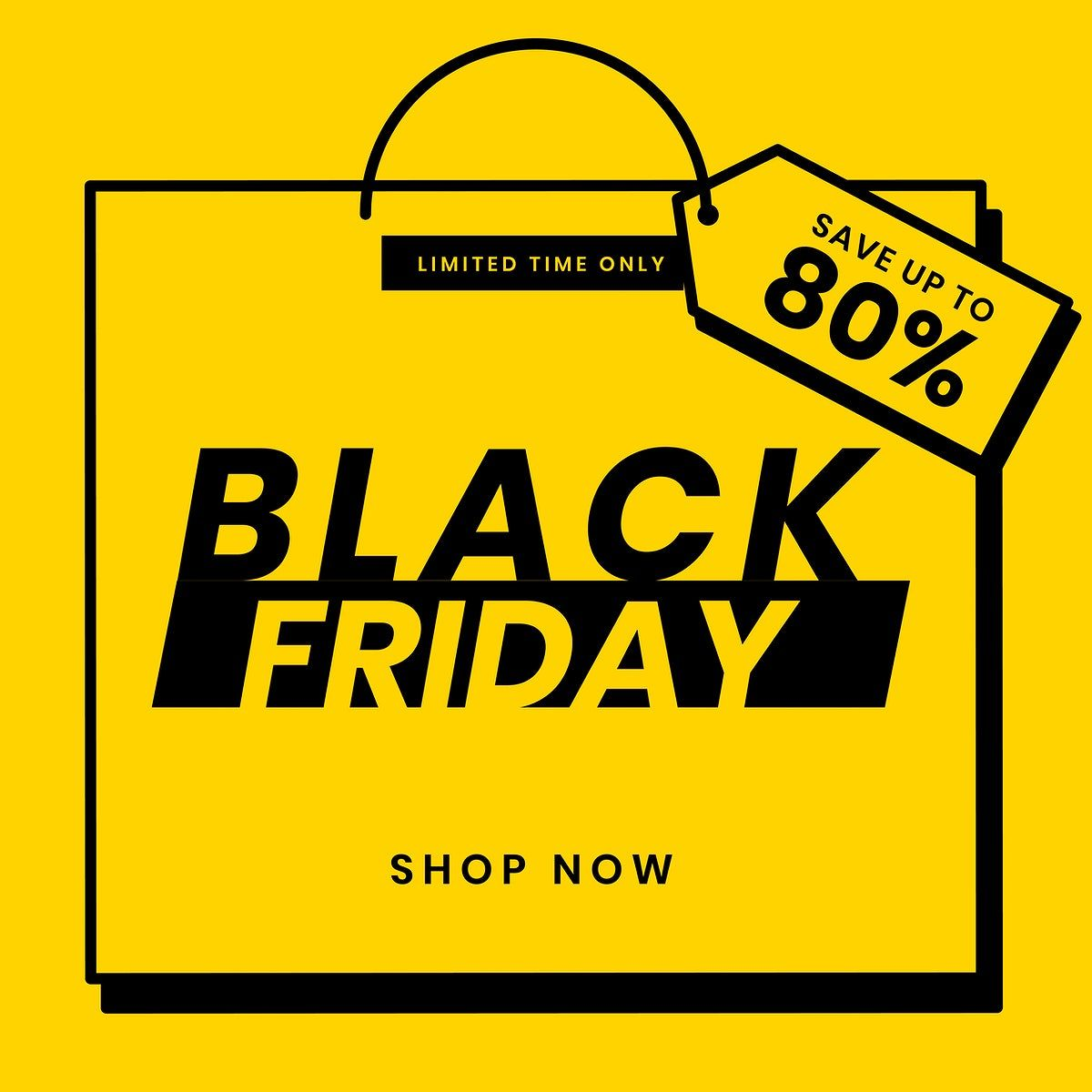 Black Friday 80 Off Vector Yellow Sale Announcement Template Premium Image By Rawpixel Com In 2020 Psd Black Friday Sale Design Black Friday