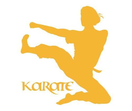 Karate, Woman Wall Sticker East Urban Home Size: 100 cm H x 110 cm W, Colour: Golden yellow