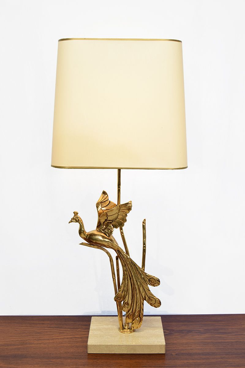 Lampe Italienisch Vintage Travertine Table Lamp With Brass Bird 1 Lamps