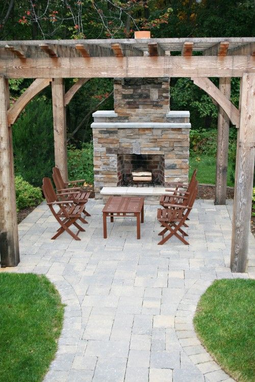 Fireplace & pergola idea for our backyard...ready to rip out the deck