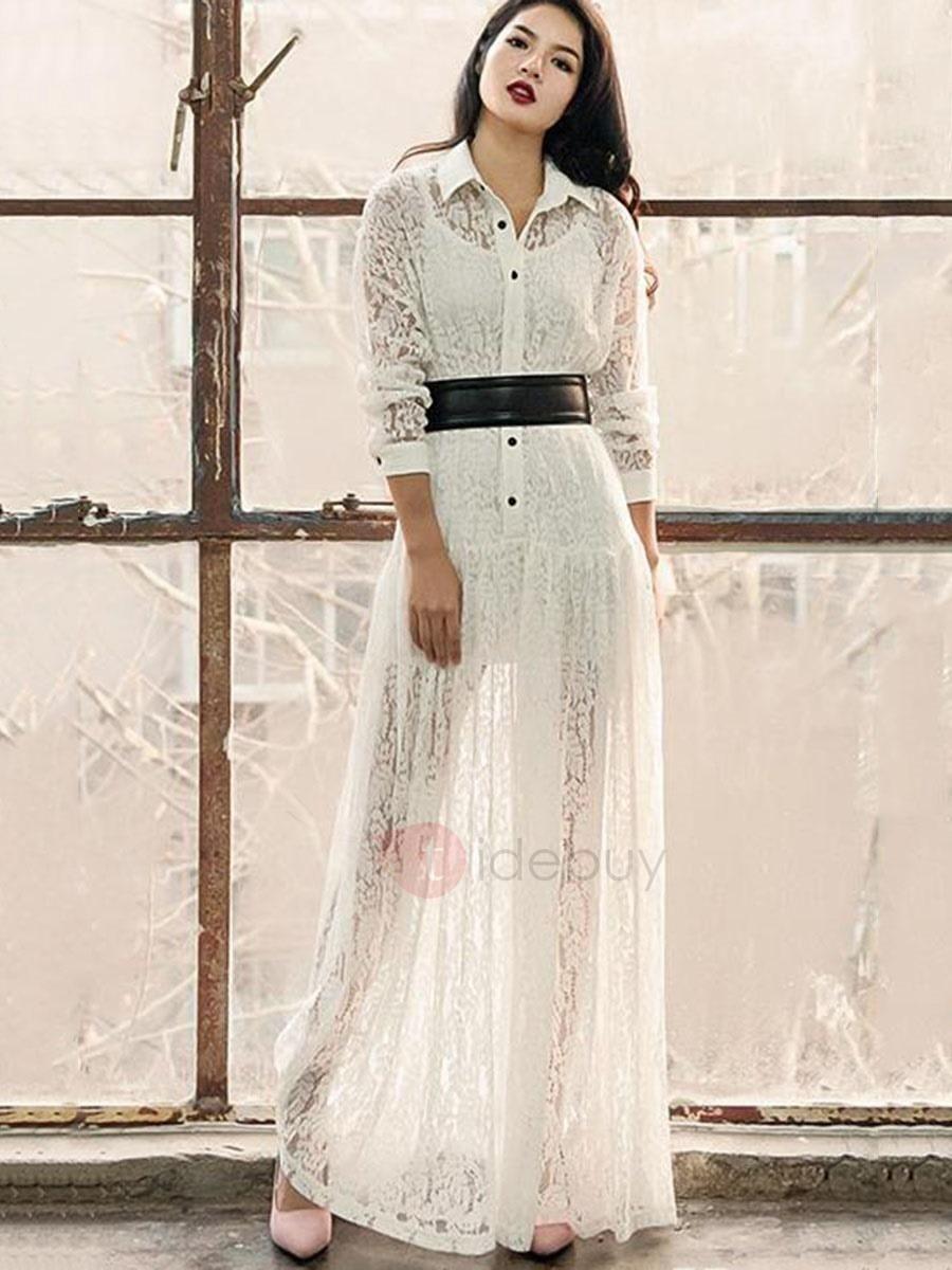 Tidebuy tidebuy white long sleeve womens maxi dress adorewe