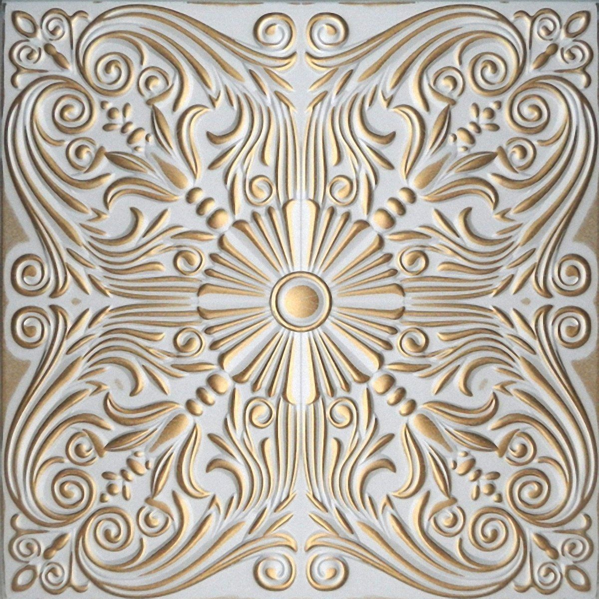 Hand painted polystyrene foam ceiling tiles retro 76 white gold hand painted polystyrene foam ceiling tiles retro 76 white gold pack 40 pcs dailygadgetfo Choice Image