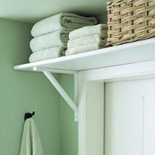 Put a shelf over the bathroom door for added storage diy - Bathroom door ideas for small spaces ...