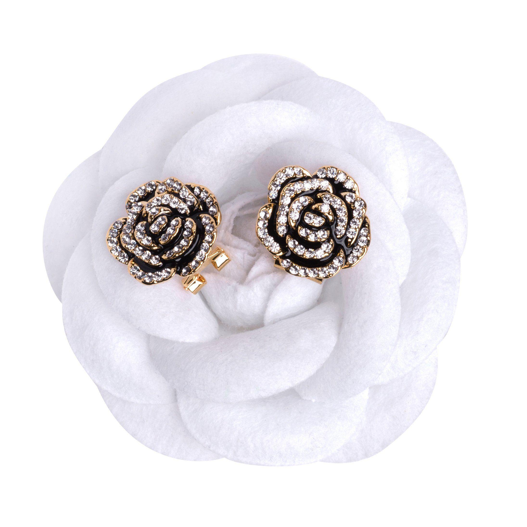 Misasha Camellia Black Flower Celebrity Designer Earrings For Women Affiliate Chanel Pins Designer Earrings Dream Jewelry Celebrity Design