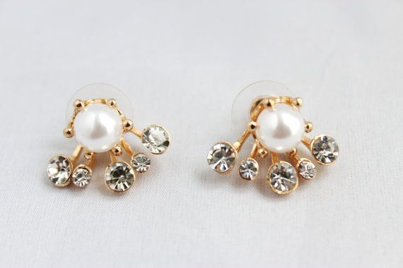 Round pearl diamante ear jackets by SkylaBoutique on Etsy #pearljackets #earjackets #pearlearrings Visit our shop at www.etsy.com/shop/SkylaBoutique