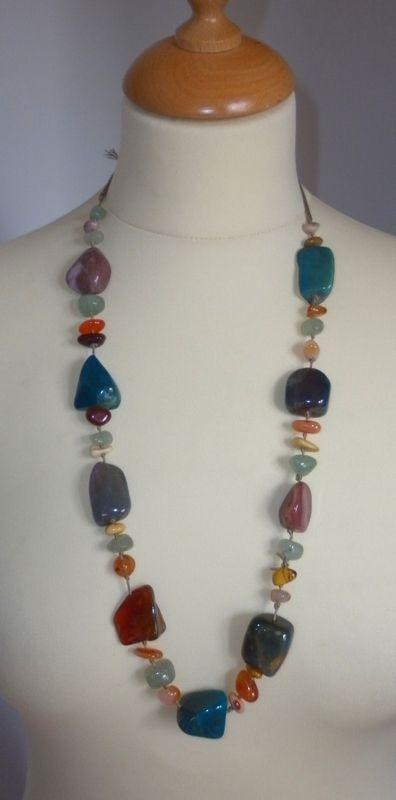 reloj 8af99 c6e2c Collar de piedras largo | Collares con piedras, Collares de ...