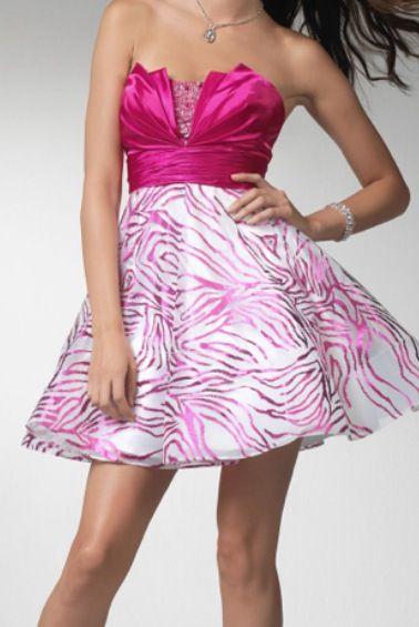 Pink Zebra Short Dresses