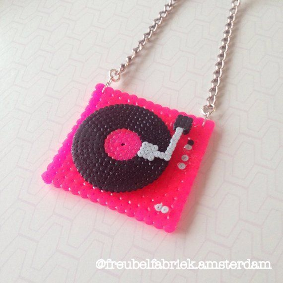 Turntable / Record Player neon pink necklace #necklace #neon #pink #Player #Record #Turntable