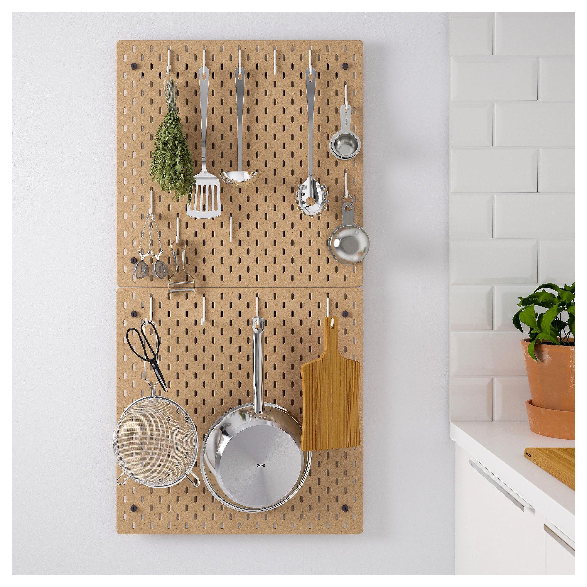 Pegboard Kitchen Storage: SKÅDIS Pegboard Combination, Wood