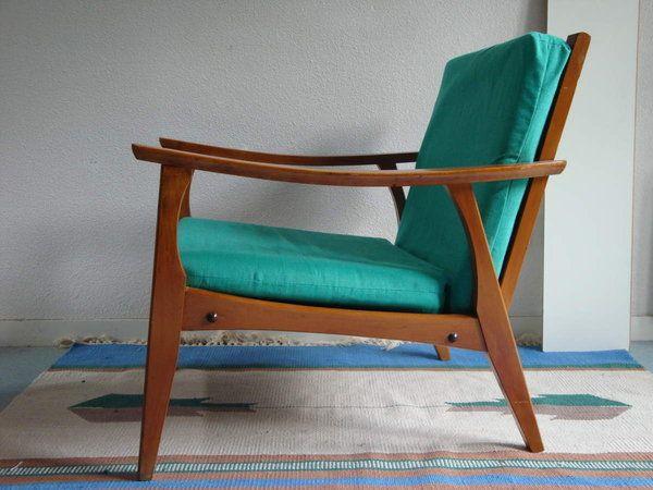 vendu fauteuil scandinave annes 50 60 vintage design 1960 chauffeuse vert - Fauteuil Scandinave Vintage