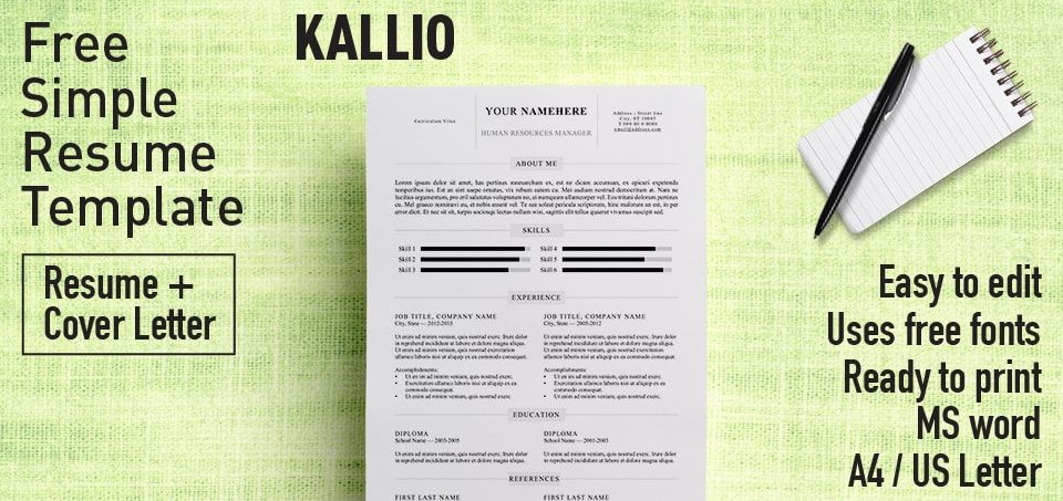 Free Simple Resume Template Microsoft Word Includes Cover Letter