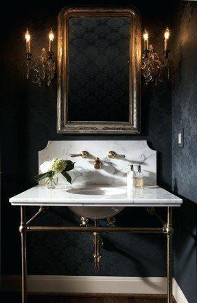 Image Result For Large Marble Top Pedestal Sink Metal Legs Basement Bath Powder Room Decor Home Interior