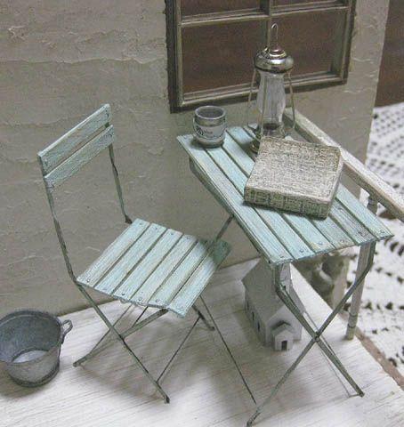 Folding chair and table. Dollhouse & Miniature ROSY, Yukari Miyazaki