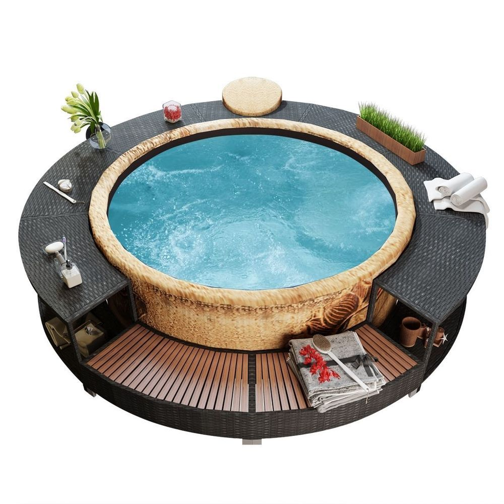 Details about New Black Poly Rattan Spa Surround Hot Tub