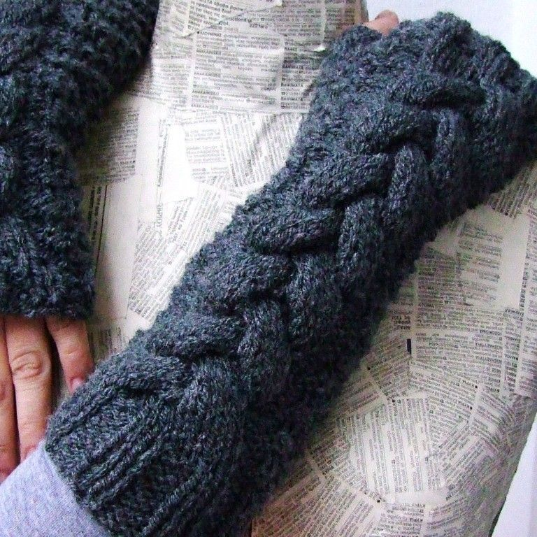 Dark grey cable fingerless gloves long hand knit gloves arm warmers ...